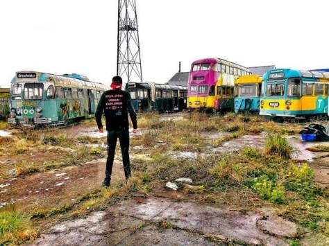 "Urban Explorer Kyle Urbex discovered the Blackpool tram ""graveyard"" in Fleetwood Haven Marina"