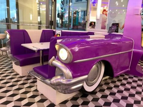 50s car style booth at American Diner-themed Viva Vegas Diner and Bar, Blackpool