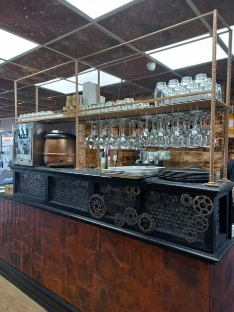 The bar in 'steam punk' themed cafe bar Cogs, Blackpool