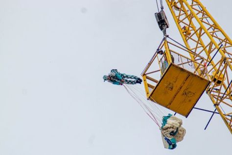 One of the jumpers at Blackpool AirgameZ takes a head first dive