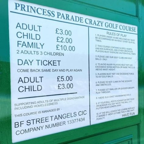 The prices for Princess Parade Crazy Golf Course with profits going to Blackpool and Fylde Street Angels