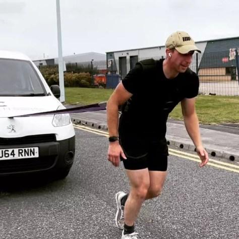 James practising pulling a Citroen Dispatch van for six miles
