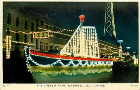 Old postcard of the Lifeboat Tram at Blackpool Illuminations