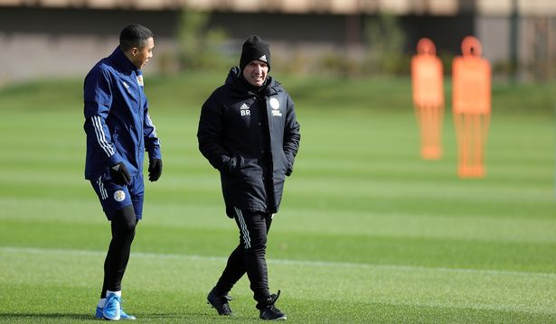 Brendan Rodgers chats with Youri Tielemans at Leicester City training ground ahead of Sheffield United game