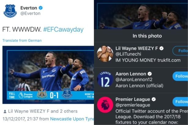 Everton confuses Lil Wayne with one of his players.  Fans react!