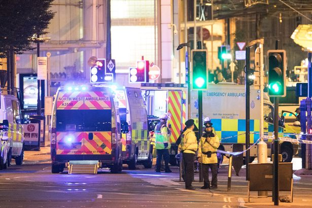 Emergency services responding to the Manchester Arena attack
