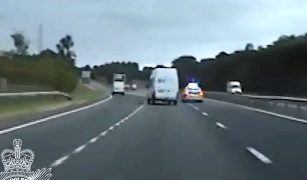Police chased a van with an A55 in North Wales.