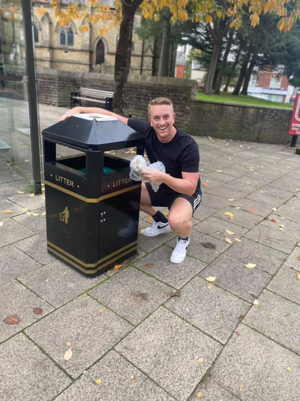 Ben J Amin meets Heywood's new star for the first time after City Council of Rochdale announced the arrival of the bin