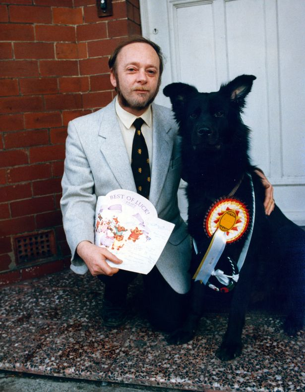 Mr. Gary Hanson with his dog Paddy who plays Jack Dickworth's dog for his wife Vera in Convention Street.
