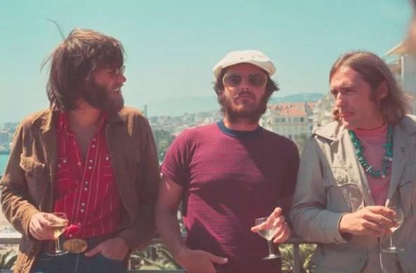 Los actores Peter Fonda, Jack Nicholson y Dennis Hopper