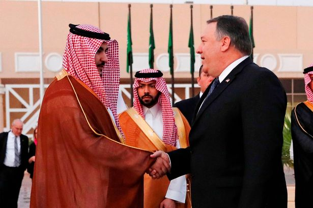 The US Secretary of State is seen shaking hands with a Saudi official before leaving Riyadh, Saudi Arabia