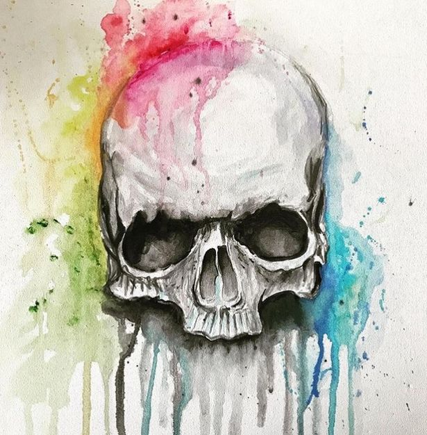 The talented 22-year-old posted this watercolour image of a skull on Instagram on October 23