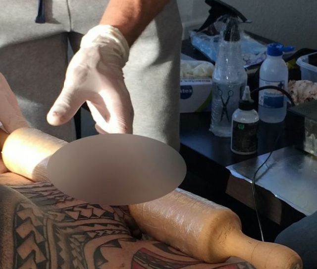 Bodybuilder Wrapped Penis Around Rolling Pin In Order To Get It Tattooed Mirror Online