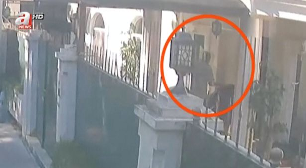 The CCTV footage shows men carrying black bags and suitcases into the Saudi consul general's residence in Turkey