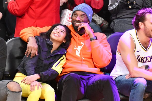 Kobe Bryant and Gianna Bryant in a basketball game between Los Angeles Lakers and the Dallas Mavericks