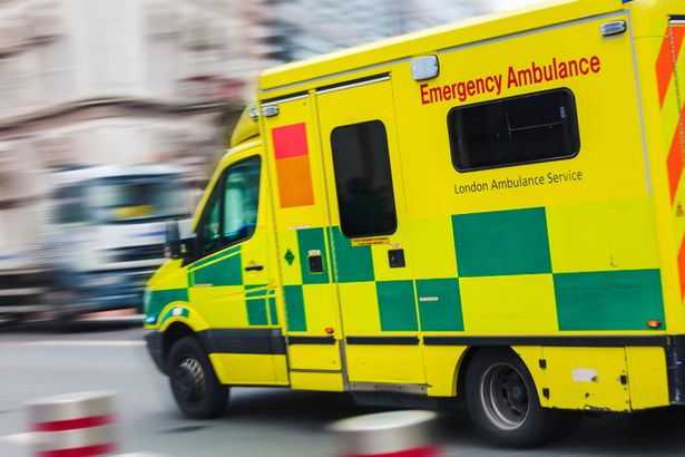 A paramedic in the ambulance was treated in intensive care following the accident but is now out of danger and recovering - stock image