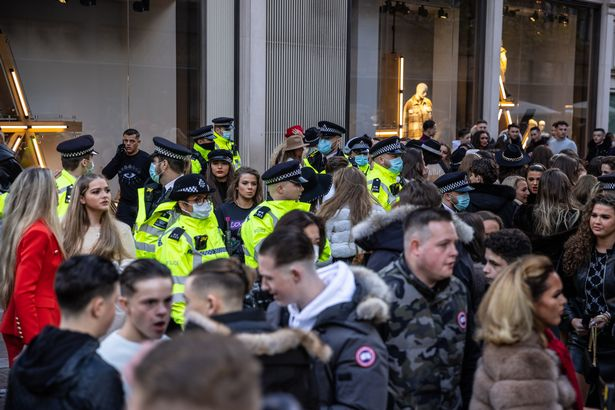 Police attempted to disperse the crowds which formed at the end of 2020