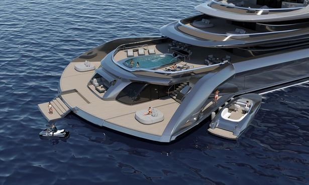 The rear of the vessel which can be transformed into an exclusive beach club