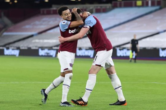 Lingard was the first to congratulate Rice after scoring a penalty