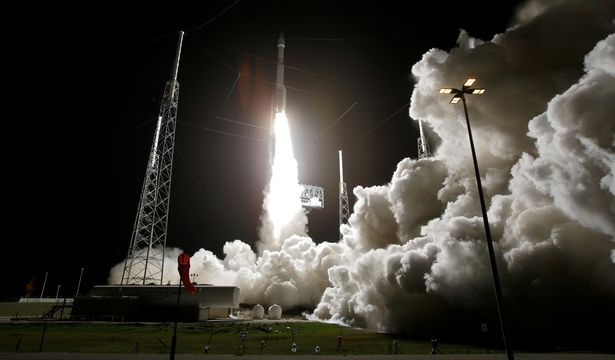 The Solar Orbiter spacecraft, built for NASA and the European Space Agency, lifts off from pad 41 aboard a United Launch Alliance Atlas V rocket