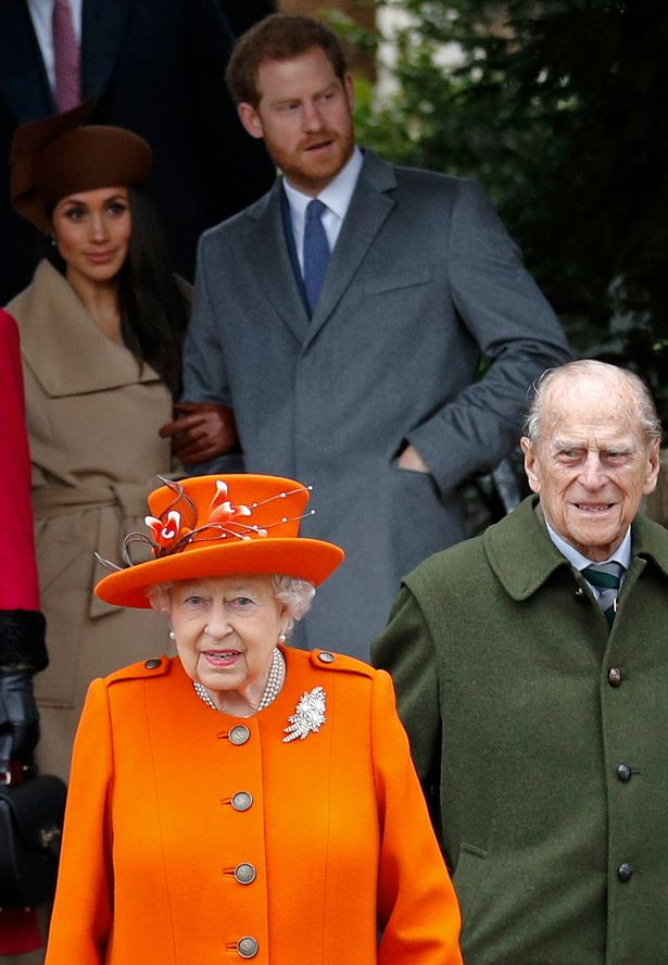 The Queen, Prince Philip, Prince Harry and Meghan Markle leave a Christmas church service
