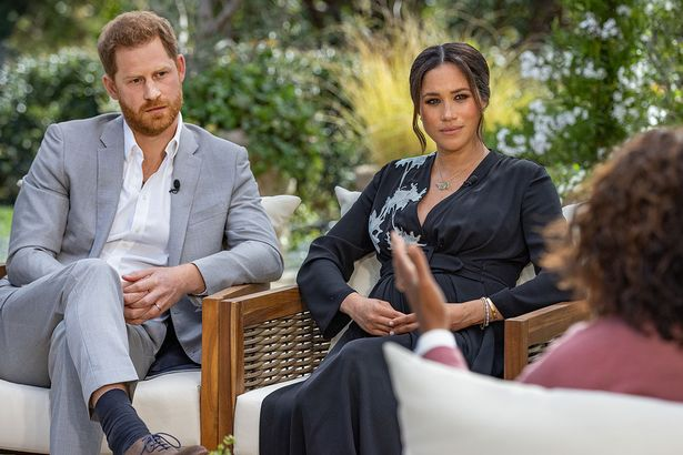 Meghan and Prince Harry during their interview with Oprah Winfrey