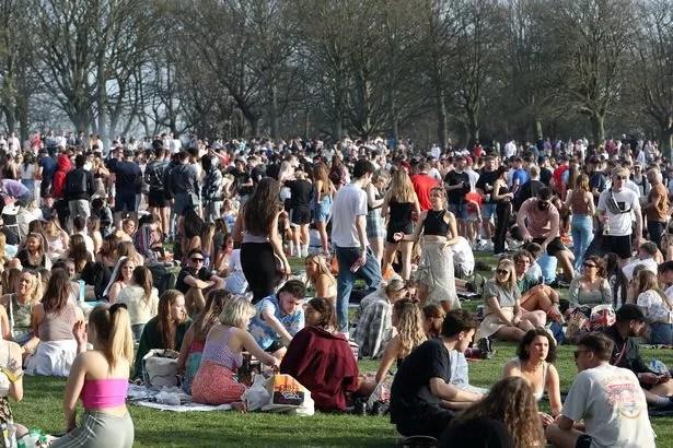 People gathered on Woodhouse Moor in Leeds