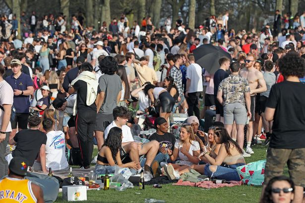 Thousands of people party on Woodhouse Moor in Leeds