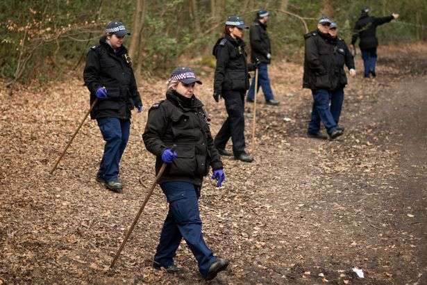Police searching Epping Forest on April 1