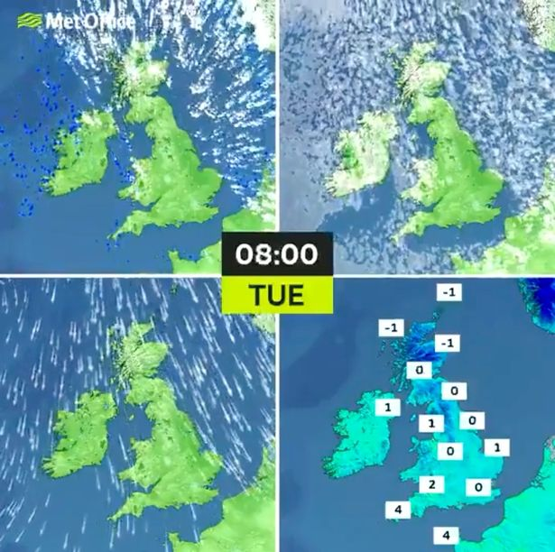 A weather map for Tuesday morning