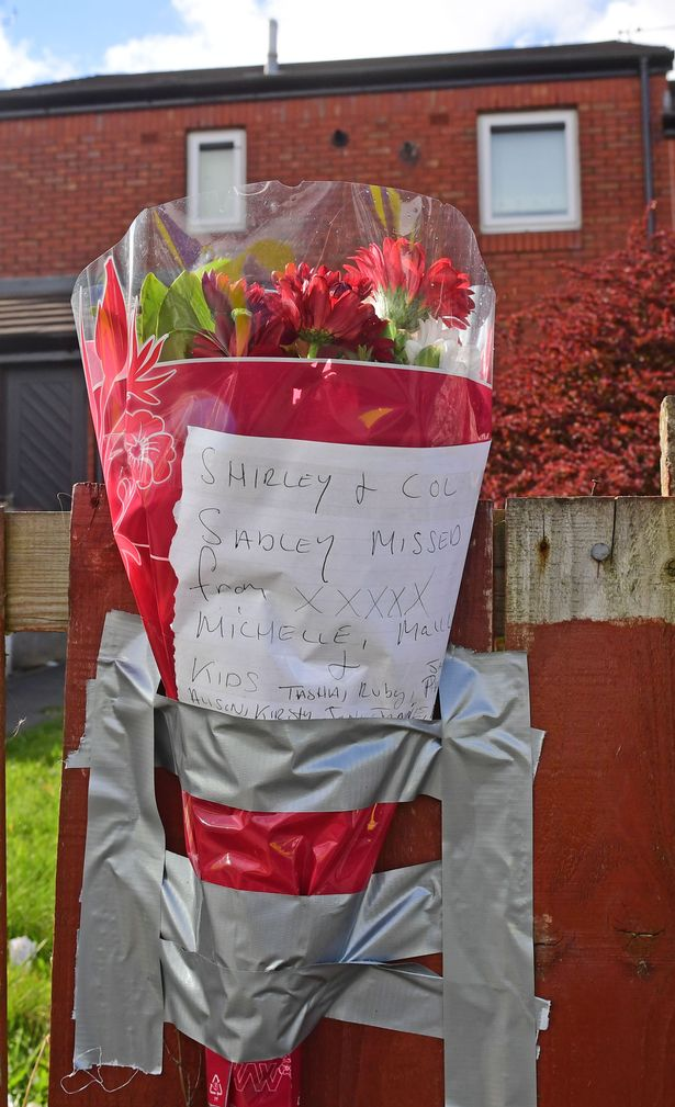 Flowers left outside the couple's house
