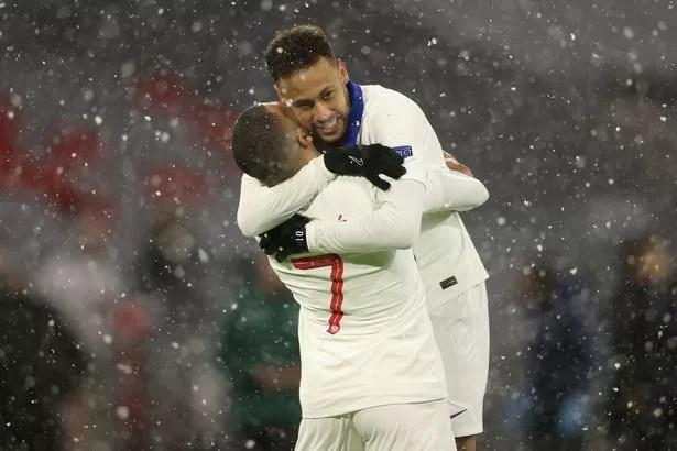 Kylian Mbappe of Paris Saint-Germain celebrates with team mate Neymar