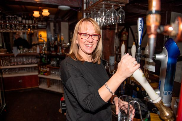 Landlady Jackie Pickering getting ready to pull pints again at the Hatton Arms