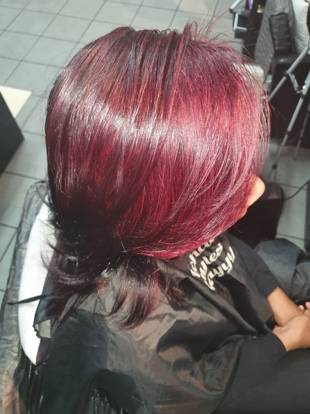 Michael's client with coloured and relaxed hair