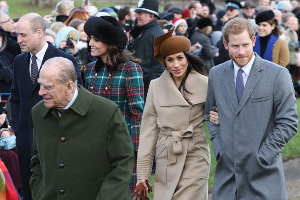 Prince William, Duke of Cambridge, Prince Philip, Duke of Edinburgh, Catherine, Duchess of Cambridge, Meghan Markle and Prince Harry attend Christmas Day service