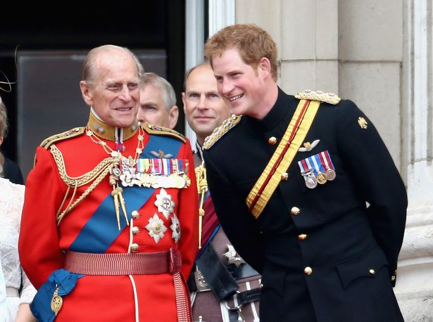 Prince Harry and Prince Philip, Duke of Edinburgh share balcony joke during Trooping the Color