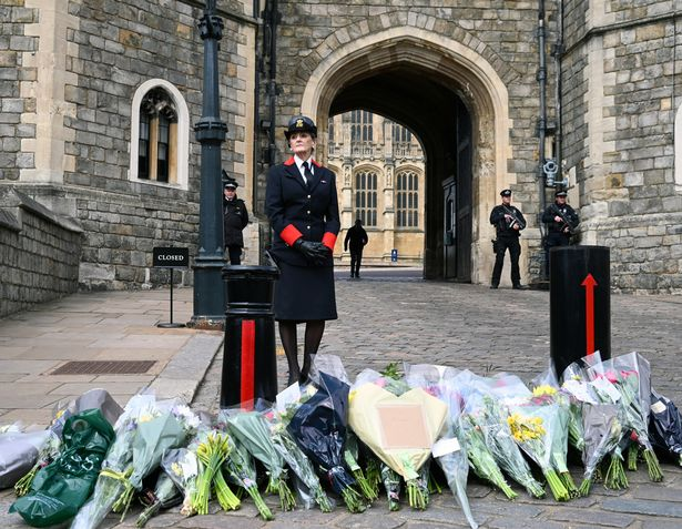 Flowers are left at Windsor Castle after the death of Prince Philip