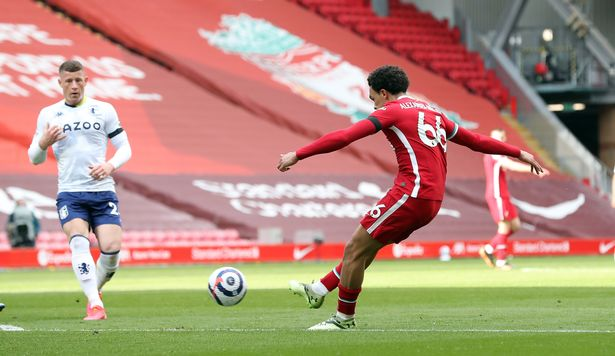 Soccer Football - Premier League - Liverpool v Aston Villa - Anfield, Liverpool, Britain - April 10, 2021 Liverpool's Trent Alexander-Arnold scores their second goal