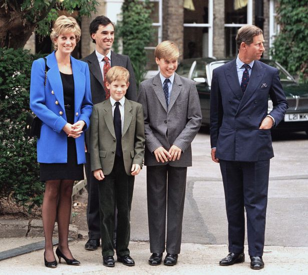 Diana, Charles, William and Harry outside Eton College
