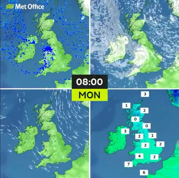 Weather map for the UK today