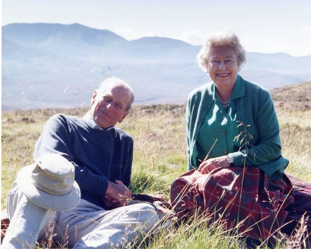 Queen Elizabeth II and the Duke of Edinburgh at the top of the Coyles of Muick, taken by The Countess of Wessex in 2003