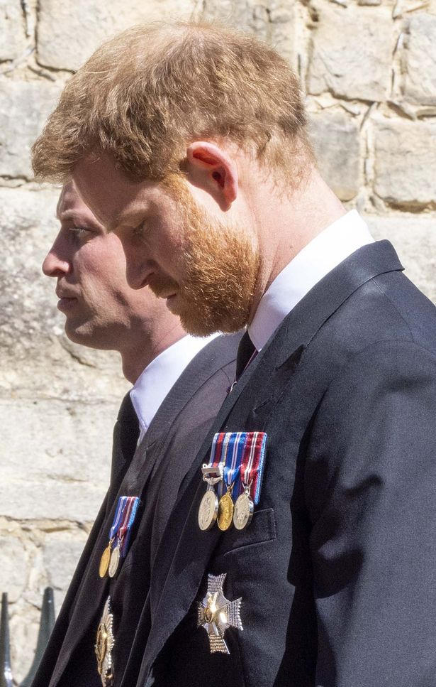 Princes Harry and William walk behind their grandfather Prince Philip's coffin