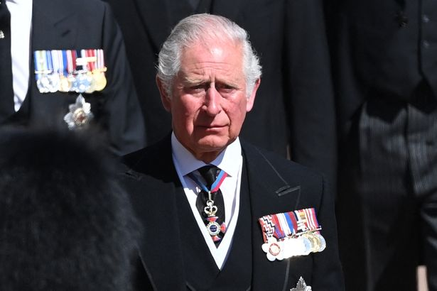 An emotional Prince Charles during the ceremonial procession before his father Philip's funeral