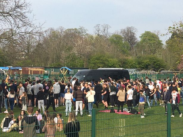 Crowds at the park in Fallowfield