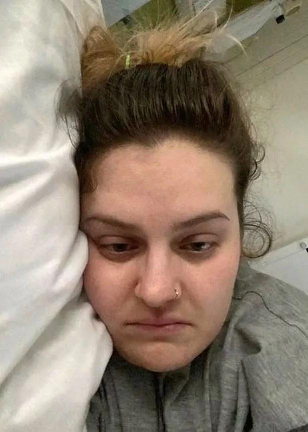 Lauren Briggs on her sick bed