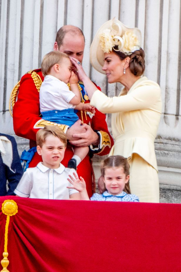 The Duke and Duchess of Cambridge with children Prince George, Princess Charlotte, and Prince Louis pictured at Trooping the Colour 2019 in London