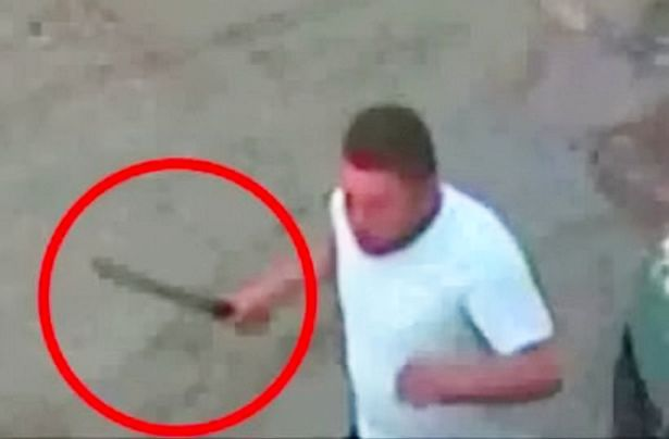 Mohammed was caught on camera grabbing a machete from his car