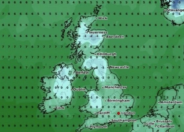 Weather charts show the temperature plunging to just above freezing tomorrow morning