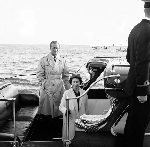The Queen and Philip reunited aboard a yacht in Portugal in 1957