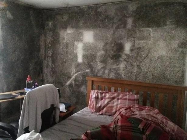Mould covers walls inside Larisa Orlova's home